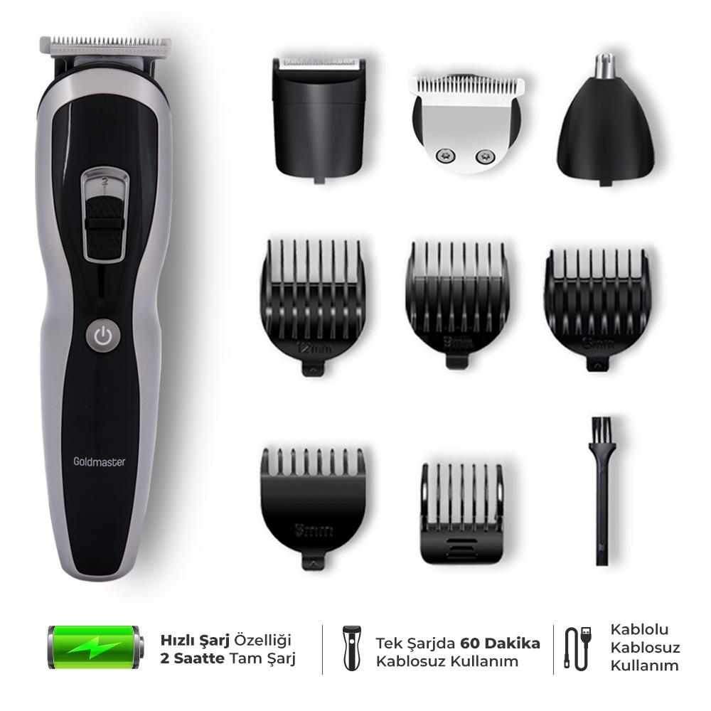 Tarz Şarjlı Erkek Bakım Saç Ve Sakal Tıraş Seti 9In1